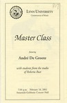 2001-2002 Master Class - André De Groote (Piano) by Andre De Groote, Yi Zhang, Alex Tchobanov, and Hyun-Soo Lee