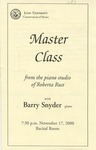 2000-2001 Master Class - Barry Snyder (Piano) by Barry Snyder, Ross Salvosa, Shoko Hino, and Ying Huang