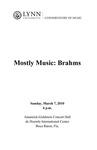 2009-2010 Mostly Music: Brahms by David Cole, Yang Shen, Jon Manasse, Lisa Leonard, Xinou Wei, Marshall Turkin, and Jan McArt