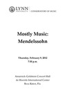 2011-2012 Mostly Music: Mendelssohn