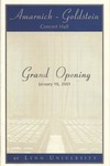 2000-2001 Amarnick-Goldstein Concert Hall: Grand Opening