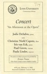 """2000-2001 Concert """"An Afternoon at the Opera"""" by Jodie DeSalvo, Christine Nield Capote, Iris van Eck, Paul Green, and Paula Linder"""
