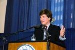 Tucker Carlson at podium by Lynn University