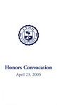 Honors Convocation: April 23, 2003