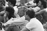 1972 Don Ross Watches Game with Students by Marymount College